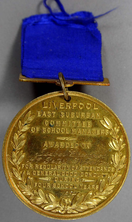 Liverpool 1890's St.Peter's Woolton attendance Medal Set of 3 45mm