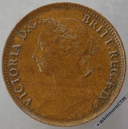 1890 British Bronze Farthing Victoria Bun Head.