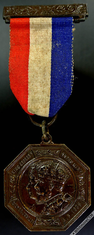 1935 Bebington Silver Jubilee Medal 32mm WE5719B Octagonal bronze ribbon & pin