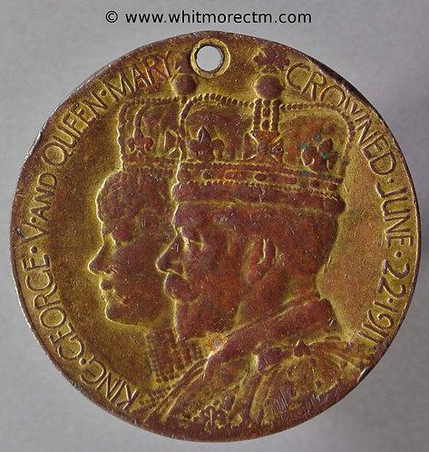 Church (Hyndburn Lancashire) 1911 Coronation Medal 32mm Gilt bronze. Pierced