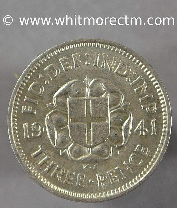 1941 British George VI Silver Threepence