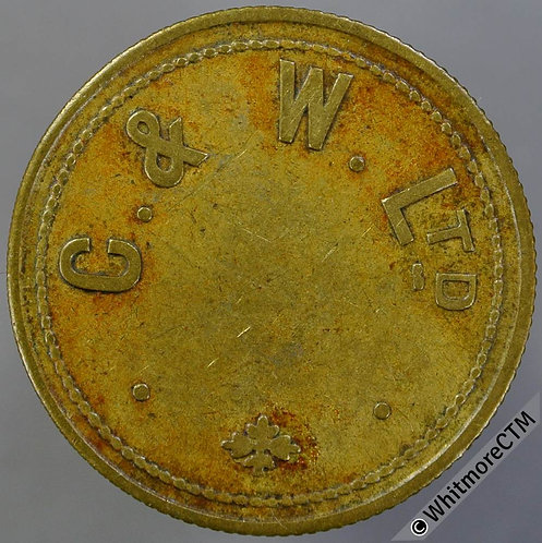 Value Stated Token 26mm C & W Ltd. / 1½D  By Vaughton (VAU3­3) Brass