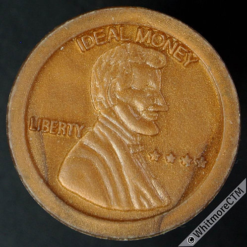 USA Toy coin 20mm Ideal Money Lincoln Memorial one cent - Bronze plastic
