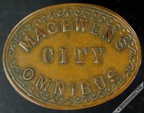 Glasgow Macewens City Omnibus Token 25x20mm  2D. Oval copper  Very rare.