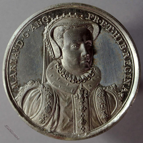 Mary I B1437-21 Facing robed bust.  By Thomason after Dassier. White metal