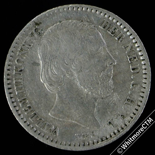 1887 Netherlands 10 Cent with star - Silver Y7