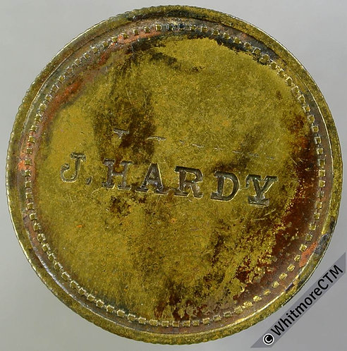 Value Stated Token J. Hardy - Stamped incuse 27mm 2D - Brass