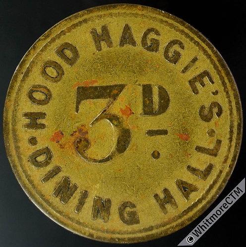 Newcastle-on-Tyne Inn Pub Token Hood Haggie's Dining Hall 3D - 31mm Brass