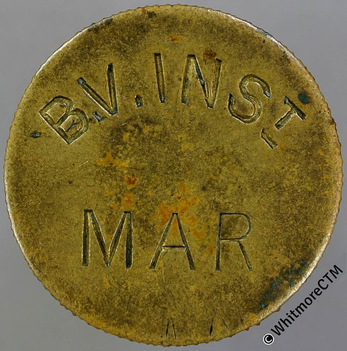 Value Stated Token 26mm B.V.Inst. Mar / 1½D.  All incuse - Brass