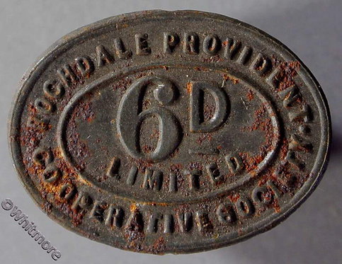 Co-Operative Society Token Rochdale Provident - 25x19mm 6d Bracteate tinned