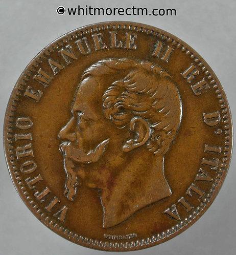 1867 Italy 10 Centesimi coin obv 1867OM