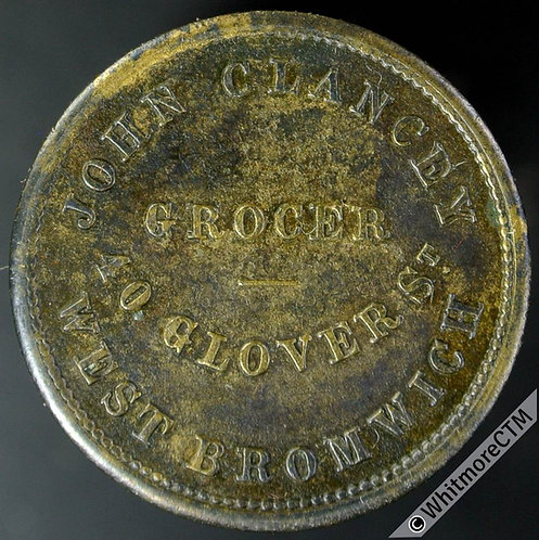Value Stated Token West Bromwich John Clancey Grocer 22mm By J.Moore - Brass