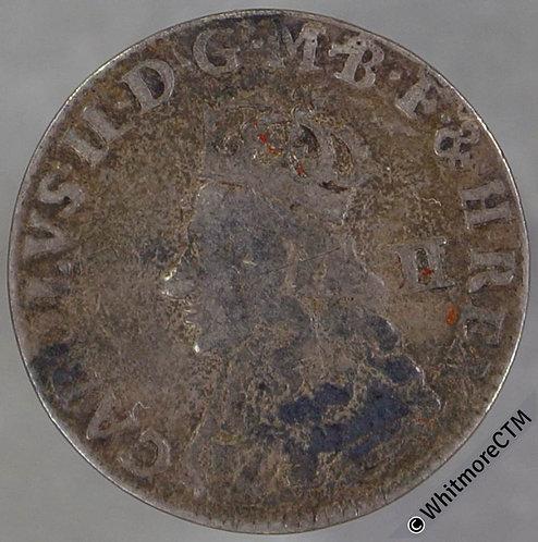 Half groat Charles II Bust to edge S3318. Usual die flaw on rev