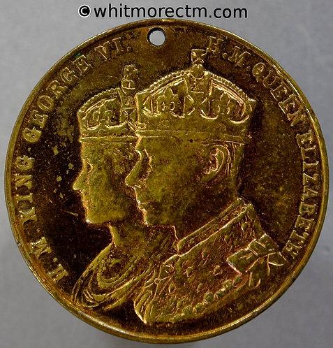 Wednesbury 1937 Coronation Medal obv 32mm George VI WE7036T Gilt Brass
