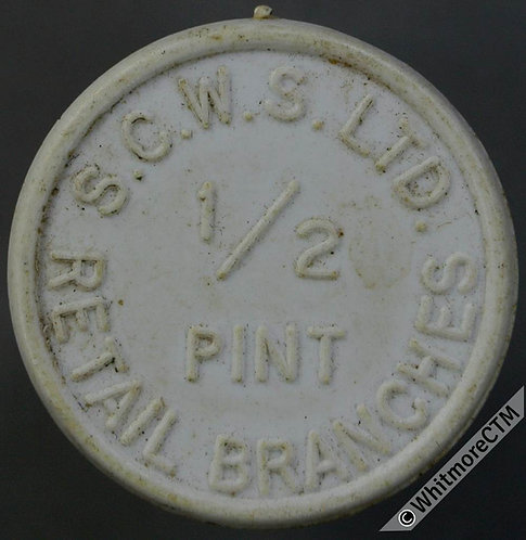 Co-Operative Society Token S.C.W.S. 25mm ½ pint Retail ½ pint.  White Plastic