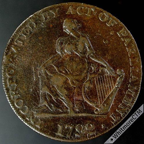 18th Century Halfpenny Dublin 91 1792 Camac Kyan female with harp. H M Co Cypher