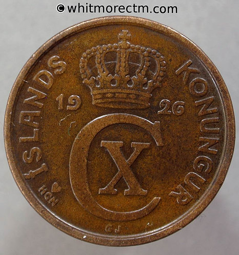 1926 Iceland 5 Aurar Coin