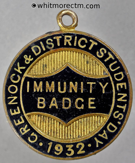 Greenock 1932 Student's day immunity badge Medal 26mm gilt brass, part enamelled