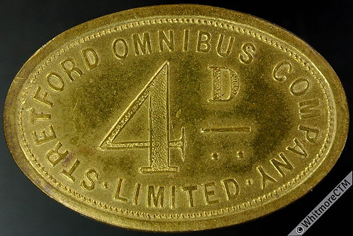 Stretford Transport Token 39x26mm Omnibus Company Limited 4D - Very rare