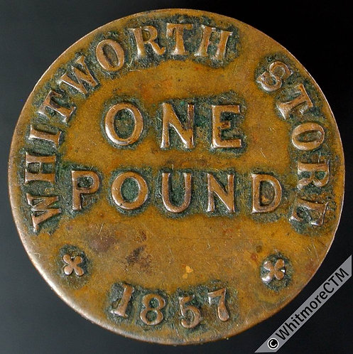 Co-Operative Society Token Whitworth Store (Lancs) 22mm. 1857 - Bracteate bronze
