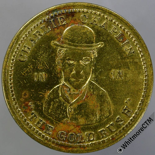 Nelson Lancs Cinema Token 26mm Charlie Chaplin in the Gold Rush - Brass