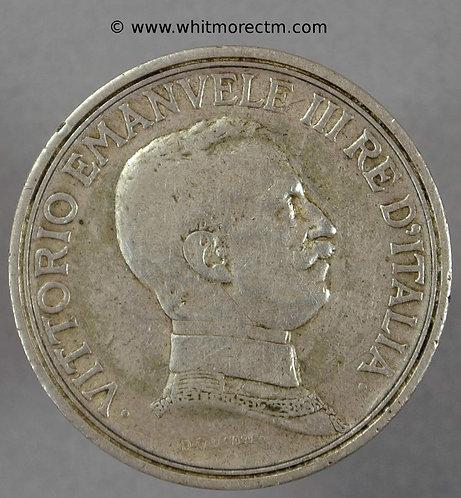 1915 Italy Y51 2 Lire Silver coin obv