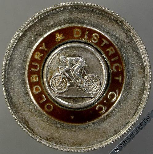 1976 Oldbury District Cycle Club 50 Mile Medal 29mm Silver, part enamelled