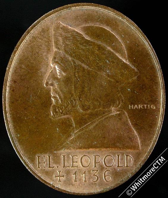 1936 Austria Klosterneuburg Medal 25x30mm Anniv of death St Leopold III Bronze