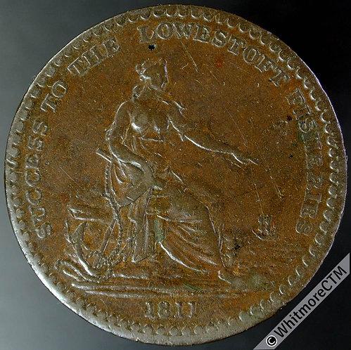 19th Century Penny Token Lowestoft 851 1811 Female seated on seashore