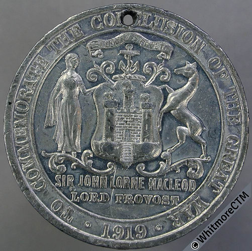 Edinburgh 1919 Conclusion of Great War Peace Medal 41mm White metal.