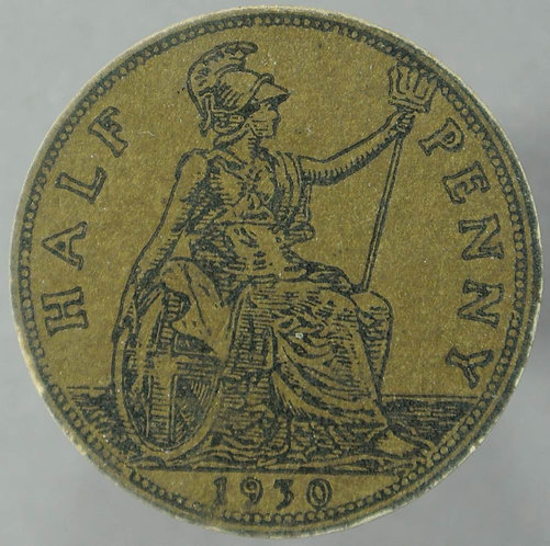 1930 Toy Coin Halfpenny - Bronze Card 25mm x 1.5mm. Evans 1439