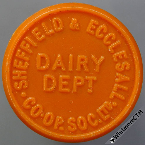 Co-Operative Society Token Sheffield & Ecclesall 22mm 1 Pt. Dairy Orange plastic