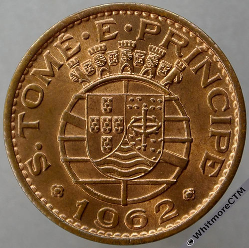 1962 Portuguese StThomas & Prince 1 Escudo - Y18 90% Luster