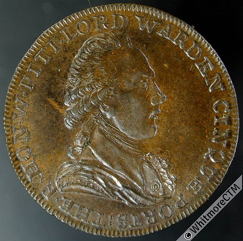 18th Century Halfpenny Dover 16 1794 Bust of Pitt. Edge: At Horn's library.