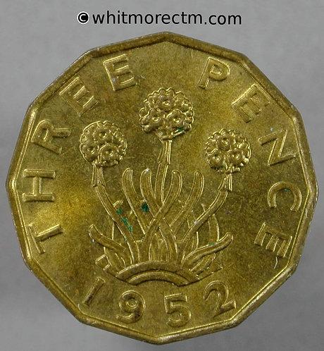 1952 British Brass Threepence George VI 80% Luster