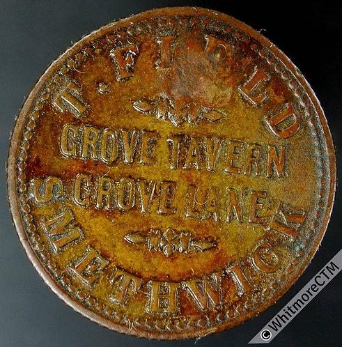 Inn / Pub Token Smethwick Grove Tavern W5485var Countermarked H