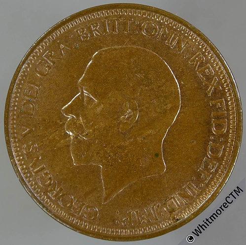 1929 Bronze Halfpenny George V - 60% Luster
