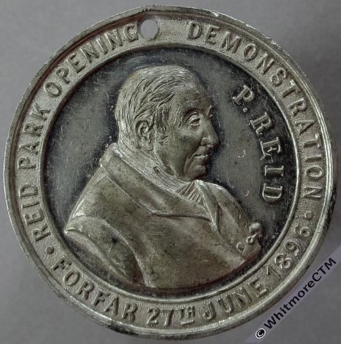 Forfar 1896 Reid Park opening Medal 38mm By Ottley. White metal. Pierced