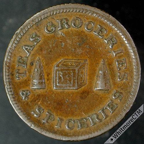 18th Century Farthing Token Scotland Non-Local 3 Bis Grocer & Wine Merchant