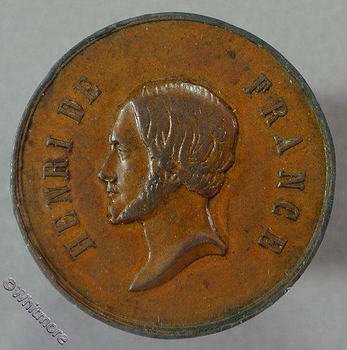 1860 Henri De France (Pretender) Medal 23mm Cross & lily sprays Bronze