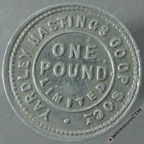 Co-Operative Society token Yardley Hastings One pound. Uniface - Aluminium