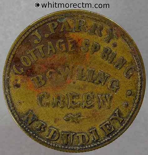 Dudley Inn token J.Parry Cottage Spring. Bowling Green W7030 2½d By W. Smith