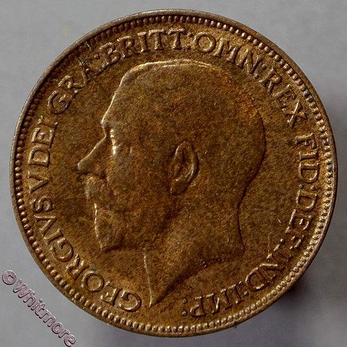 1918 British Bronze Farthing George V  - 70% Luster