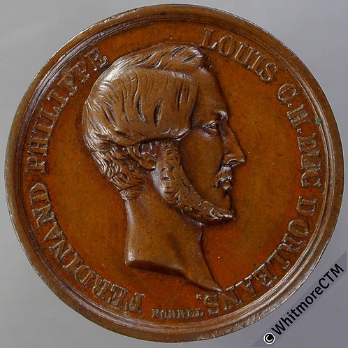 1842 France Death of Duc D'Orleans Medal 26mm By Borrel. Bronze