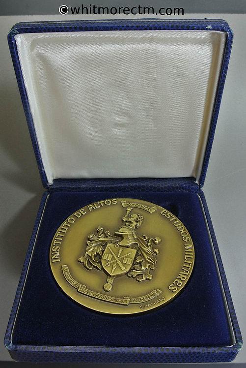 1993 Ecuador / Portugal Instituto de Altos Estudos Militares Medal 80mm Bronze in case