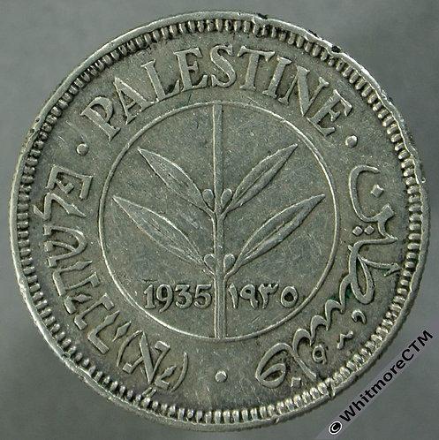 1935 Palestine 50 Mils Silver Y6