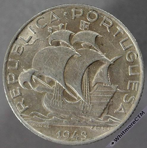 1943 Portugal 2½ Escudos - silver
