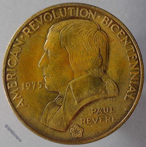 1975 USA Revolution Bicentenary Medal Paul Revere Lexington Concord 38mm Bronze