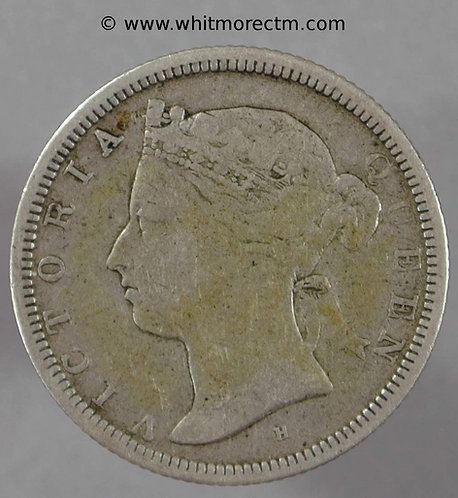 1880H Straits Settlements Y15 20 Cents coin Rare