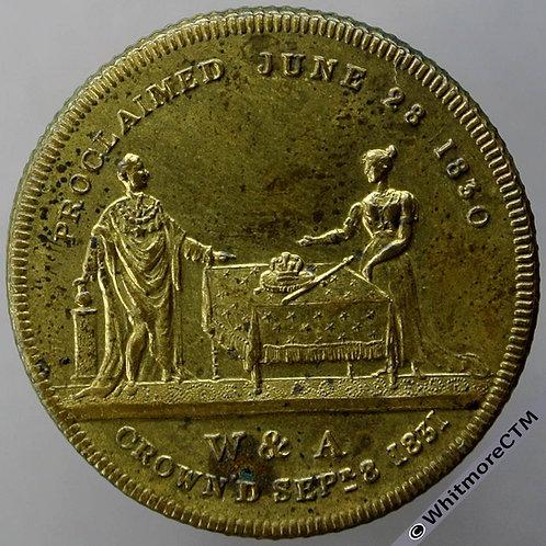 1831 William IV & Adelaide Coronation Medal 29mm B1506 Gilt bronze